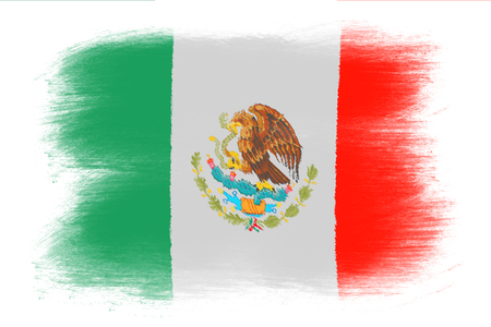 mexican flag: The Mexican flag - Painted grunge flag, brush strokes. Isolated on white background.