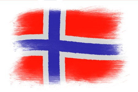 norwegian flag: The Norwegian flag - Painted grunge flag, brush strokes. Isolated on white background. Stock Photo