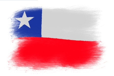 chile flag: The Chile flag - Painted grunge flag, brush strokes. Isolated on white background.