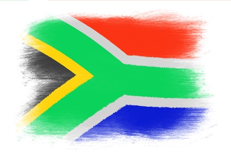 south africa flag: The Republic of South Africa flag - Painted grunge flag, brush strokes. Isolated on white background. Stock Photo