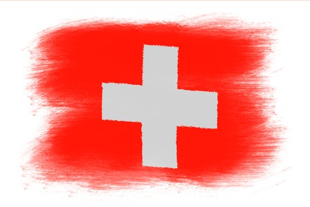 swiss flag: The Swiss flag - Painted grunge flag, brush strokes. Isolated on white background.