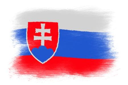 The Slovakia flag - Painted grunge flag, brush strokes. Isolated on white background.