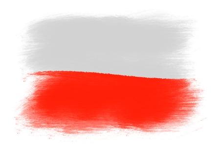 polish flag: The Polish flag - Painted grunge flag, brush strokes. Isolated on white background. Stock Photo