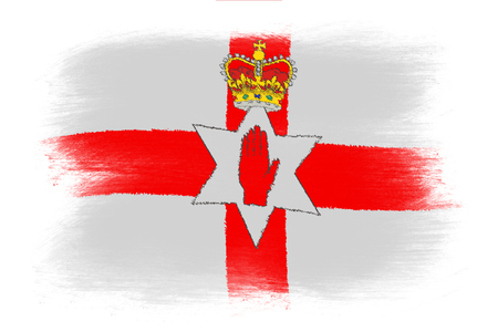 ulster: Flag of Northern Ireland - Painted grunge flag, brush strokes. Isolated on white background.