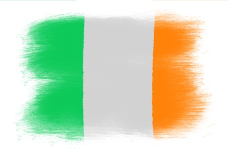 irish flag: The irish flag - Painted grunge flag, brush strokes. Isolated on white background.
