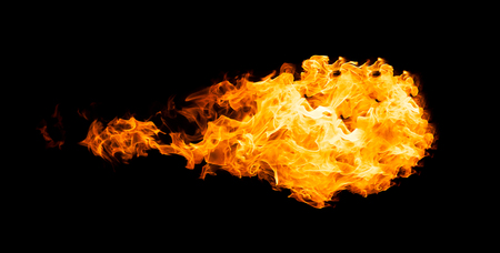 annihilate: Fireball isolated on black background. Close up