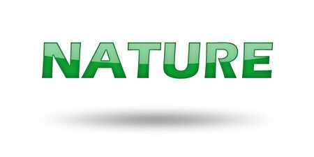 Word Nature with green letters and shadow. Illustration, isolated on white