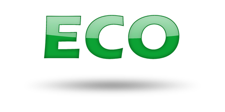 eco slogan: Word Eco with green letters and shadow. Illustration, isolated on white