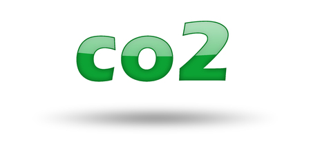 co2: Word CO2 with green letters and shadow. Illustration, isolated on white Stock Photo