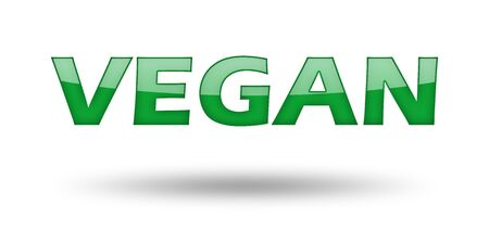 eco slogan: Word Vegan with green letters and shadow. Illustration, isolated on white Stock Photo
