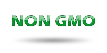 non: Word Non GMO with green letters and shadow. Illustration, isolated on white