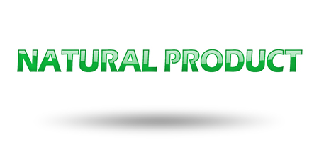 eco slogan: Text Natural Product with green letters and shadow. Illustration, isolated on white
