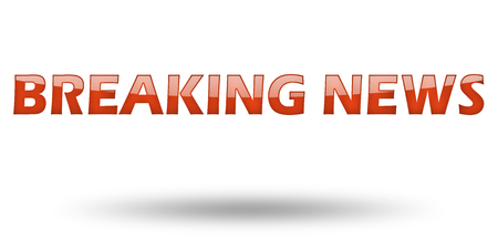breaking news: Text Breaking News with red letters and shadow. Illustration, isolated on white