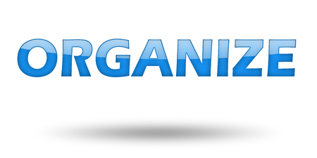organize: Word ORGANIZE with blue letters and shadow. Illustration, isolated on white