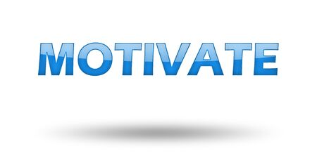 motivator: Word MOTIVATE with blue letters and shadow. Illustration, isolated on white Stock Photo