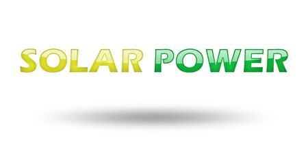 solar power: Text Solar Power with colorful letters and shadow. Illustration, isolated on white