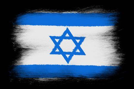 israeli flag: The Israeli flag - Painted grunge flag, brush strokes. Isolated on black background.