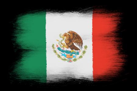 Le drapeau mexicain - Peint grunge drapeau, coups de pinceau. Isolé sur fond noir.