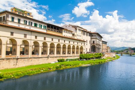 river arno: The embankment of river Arno. View of the Uffizi Gallery. Italy, Florence