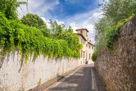 The beautiful street of captivating Tuscany, Italy Stock Photo
