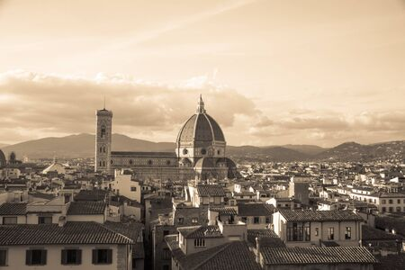 michelangelo: Florence cityscape with Duomo Santa Maria Del Fiore from Piazzale Michelangelo, Italy Stock Photo