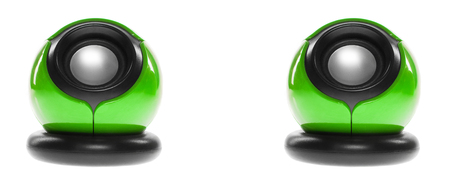 two party system: two computer speakers on a white background. green color Stock Photo