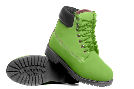 Green boots. Angle view