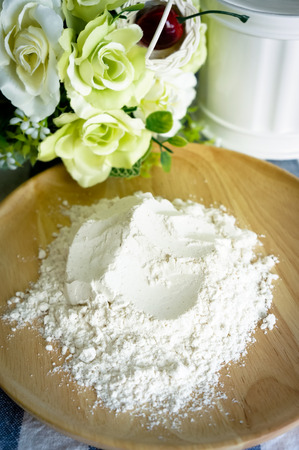 artisan bakery: Ingredients for the flour dough in wooden plate