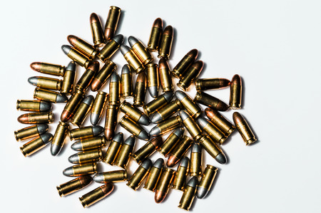 9mm ammo: 9 mm. bullets on white background