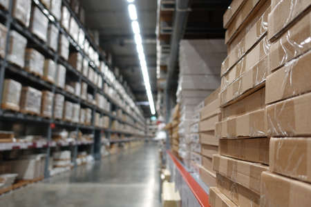 warehouse area, Large Inventory. Warehouse Goods Stock for Logistic. 写真素材