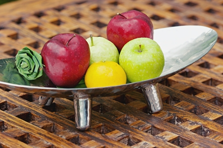 Thai exotic tropical fruits in luxury silver basket, welcome fruit basket in hotel