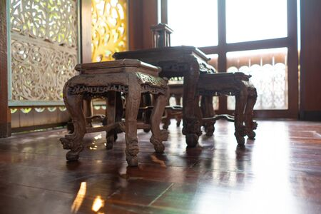 Antique Chinese table and chair set Stock Photo