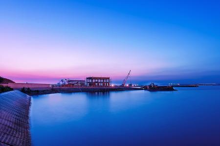 yangtze: Jiangyin Yangtze River ferry pier sunset Night