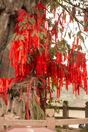 balustrades: Wishing tree with red ribbons