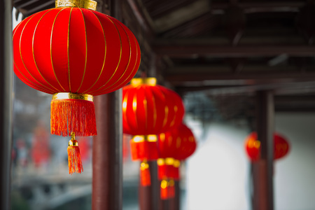 Lanterns under the ancient buildings Stock Photo