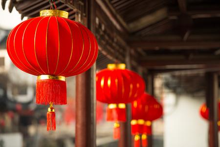 Lanterns under  the ancient buildings