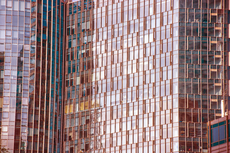 Glass curtain wall in the business center Stock Photo