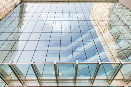 Glass curtain wall in the business center 版權商用圖片