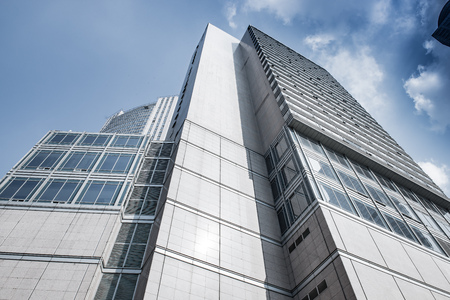 Glass curtain wall in the business center Editorial