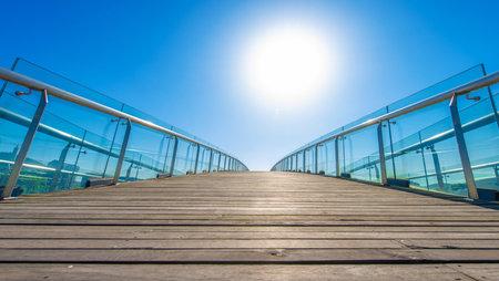 Glass handrails on bridge