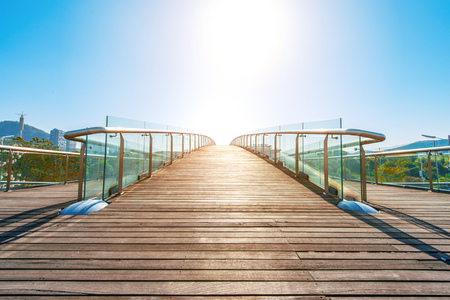 Glass handrails on bridge