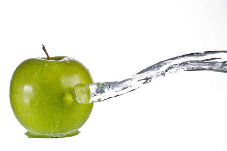 Green apple water splash photo