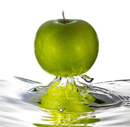 apple and orange: Green apple water splash