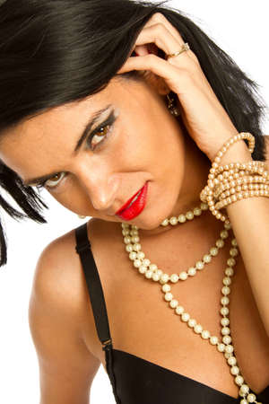 Beautiful fashion model portrait with jewelry photo