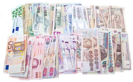 Currencies, worldwide money, banknotes, exchange rate, Dollar, euro, Lei, Rial, Peso, Bath, Rupee photo