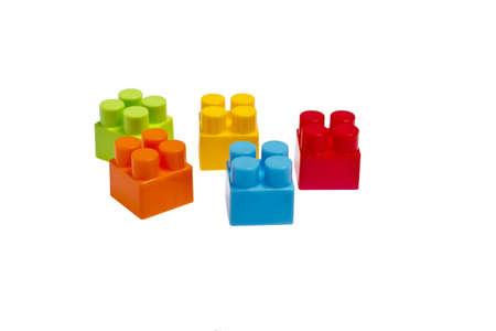 lego plastic toy blocks on white backgroud Stock Photo - 14573490