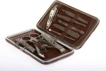 manicura pedicura: manicure pedicure fijado en caja marr�n