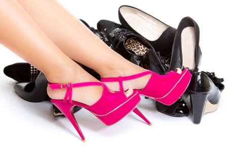 High heels in different colours, womans leg, girls leg, female foot Stock Photo - 14810600