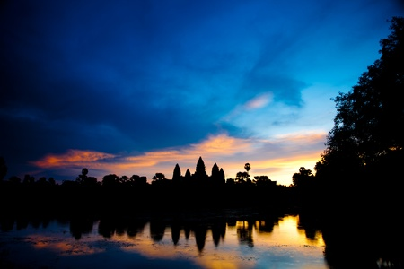 Angkor Wat temples during sunrise