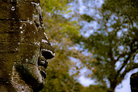 buddha smiling face with trees in the background photo